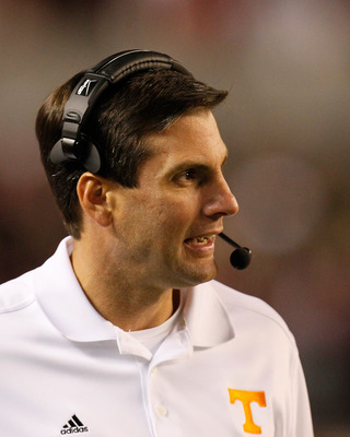 TUSCALOOSA, AL - OCTOBER 22:  Head coach Derek Dooley of the Tennessee Volunteers against the Alabama Crimson Tide at Bryant-Denny Stadium on October 22, 2011 in Tuscaloosa, Alabama.  (Photo by Kevin C. Cox/Getty Images)