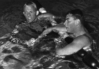 Credit unknown/Lance Larson, left, and John Devitt after the 100 freestyle.