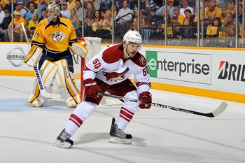 Vermette setting up a hit against the Predators during the 2012 Playoffs