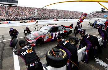 Denny Hamlin's bid for the win was crushed by miscommunication late in the race
