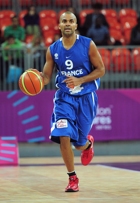 LONDON, ENGLAND - AUGUST 16:  Tony Parker of France in action during the London Prepares Series match between Great Britain and France at the Basketball Arena on August 16, 2011 in London, England.  (Photo by Shaun Botterill/Getty Images)