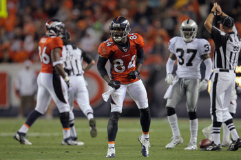 DENVER, CO - SEPTEMBER 12:  Wide receiver Brandon Lloyd #84 of the Denver Broncos celebrates his first down reception against the Oakland Raiders at Sports Authority Field at Mile High on September 12, 2011 in Denver, Colorado.  (Photo by Doug Pensinger/G
