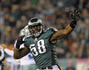 October 30, 2011; Philadelphia, PA USA; Philadelphia Eagles defensive end Trent Cole (58) celebrates his sack of Dallas Cowboys quarterback Tony Romo (not pictured) during the game at Lincoln Financial Field. The Eagles defeated the Cowboys 34-7. Mandator