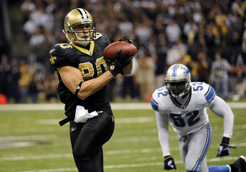 Jan 7, 2012; New Orleans, LA, USA; New Orleans Saints tight end Jimmy Graham (80) catches a pass in front of Detroit Lions outside linebacker Justin Durant (52) in the third quarter during the 2011 NFC Wild Card Playoff game at the Mercedes-Benz Superdome