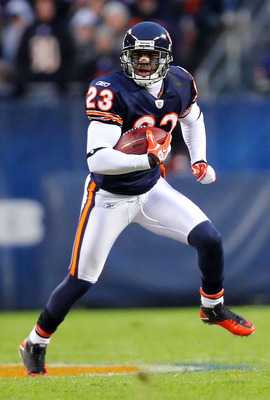 Nov 20, 2011; Chicago, IL, USA;  Chicago Bears wide receiver Devin Hester (23) during a kick return against the San Diego Chargers during the second quarter at Soldier Field. Mandatory Credit: Dennis Wierzbicki-US PRESSWIRE