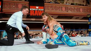Shawn Michaels appeared on the first-ever episode of Monday Night RAW. (From WWE.com)