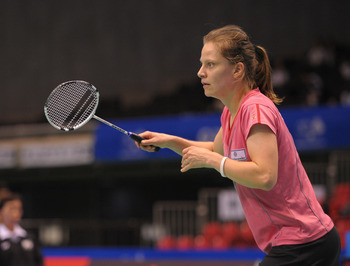 TOKYO, JAPAN - SEPTEMBER 25: Juliane Schenk of Germany competes in the Women's Singles final match against Yihan Wang of China during day five of the Yonex Open Japan 2011 at Tokyo Metropolitan Gymnasium on September 25, 2011 in Tokyo, Japan.  (Photo by K