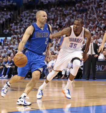 OKLAHOMA CITY, OK - APRIL 30:  Jason Kidd #2 of the Dallas Mavericks drives as Kevin Durant #35 of the Oklahoma City Thunder follows in Game Two of the Western Conference Quarterfinals in the 2012 NBA Playoffs on April 30, 2012 at the Chesapeake Energy Ar