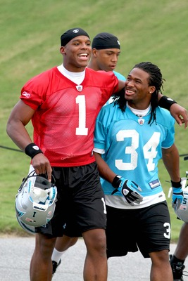 Cam Newton and DeAngelo Williams at training camp in 2011