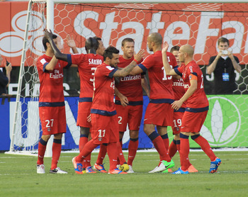 NEW YORK, NY - JULY 22: Paris Saint Germain celebrate a goal against Chelsea FC during the match at Yankee Stadium on July 22, 2012 in New York City. The match ended in a 1-1 draw. (Photo by Andy Marlin/Getty Images)