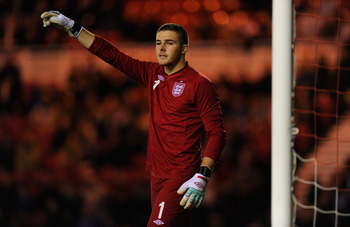 MIDDLESBROUGH, ENGLAND - FEBRUARY 29:  England keeper Jack Butland in action during the UEFA Under-21 Euro 2013 Group 8 Qualifier between England U-21 and Belguim U-21 at the Riverside on February 29, 2012 in Middlesbrough, England.  (Photo by Stu Forster