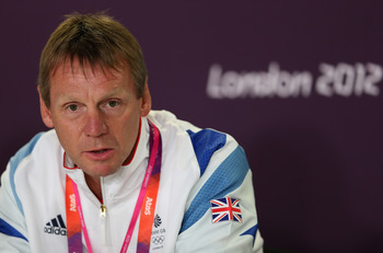 LONDON, ENGLAND - JULY 16:  Coach, Stuart Pearce talks to the media during the Team GB Football press conference at the Olympic Park on July 16, 2012 in London, England.  (Photo by Julian Finney/Getty Images)