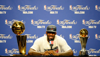LeBron displays the rewards for his championship season.