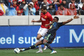 CAPE TOWN, SOUTH AFRICA - JULY 21: Bebe of Manchester United during the MTN Football Invitational match between Ajax Cape Town and Manchester United at Cape Town Stadium on July 21, 2012 in Cape Town, South Africa.  (Photo by Luke Walker/Gallo Images/Gett