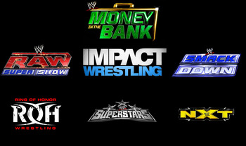 Logos from Wikipedia.org, but copyright to WWE, TNA and ROH