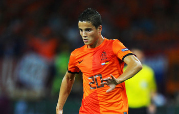 KHARKOV, UKRAINE - JUNE 13:  Ibrahim Afellay of Netherlands  in action during the UEFA EURO 2012 group B match between Netherlands and Germany at Metalist Stadium on June 13, 2012 in Kharkov, Ukraine.  (Photo by Lars Baron/Getty Images)