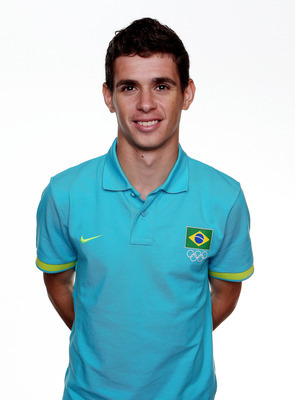ST ALBANS, ENGLAND - JULY 22:  Oscar poses during the Brazil Men's Official Olympic Football Team portrait session on July 22, 2012 in St Albans, England.  (Photo by Scott Heavey/Getty Images)