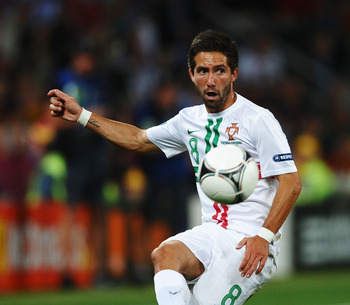 DONETSK, UKRAINE - JUNE 27:  Joao Moutinho of Portugal in action during the UEFA EURO 2012 semi final match between Portugal and Spain at Donbass Arena on June 27, 2012 in Donetsk, Ukraine.  (Photo by Laurence Griffiths/Getty Images)