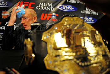 Jan. 31, 2009; Las Vegas, NV, USA; UFC fighter Georges St-Pierre during the post fight press conference after defeating B.J. Penn (not pictured) during the welterweight championship in UFC 94 at the MGM Grand Hotel and Casino. St-Pierre defeated Penn with