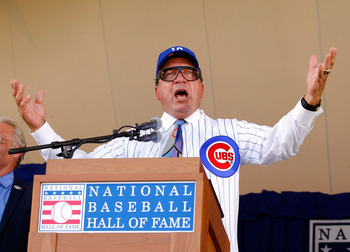 Johnny Bench doing his Harry Caray impersonation
