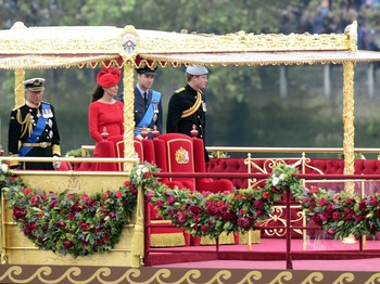 Kate, William and Harry at the Queen's Diamond Jubilee Pageant