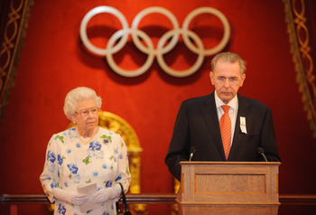 Queen Elizabeth II with IOC President Jacques Rogge