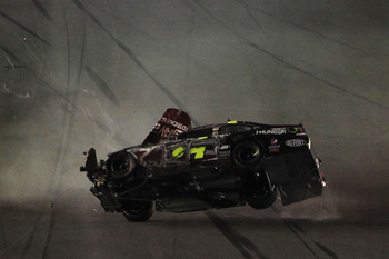 This flip in the Budweiser Shootout started Jeff Gordon's year on a sour note.