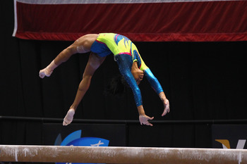 Gabby Douglas on beam during the 2012 Visa Championships