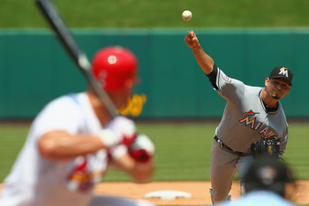 ST. LOUIS, MO - JULY 8: Starter Anibal Sanchez #19 of the Miami Marlins pitches against the St. Louis Cardinals at Busch Stadium on July 8, 2012 in St. Louis, Missouri. (Photo by Dilip Vishwanat/Getty Images)