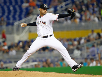 MIAMI, FL - MAY 29:  Anibal Sanchez #19 of the Miami Marlins pitches during a game against the Washington Nationals at Marlins Park on May 29, 2012 in Miami, Florida.  (Photo by Mike Ehrmann/Getty Images)