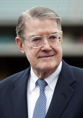 May 2, 2012; Los Angeles, CA, USA; Los Angeles Dodgers former owner Peter O'Malley at a press conference to announce the sale of the Dodgers to the Guggenheim baseball management team at Dodger Stadium. Mandatory Credit: Kirby Lee/Image of Sport-US PRESSW