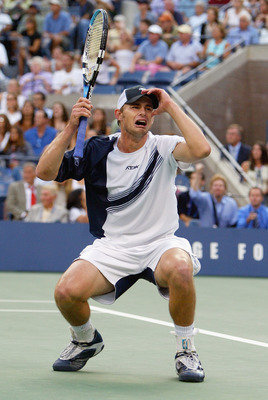 FLUSHING, NY - SEPTEMBER 7:  Andy Roddick celebrates match point against Juan Carlos Ferrero of Spain during the US Open men's singles final match at the USTA National Tennis Center in Flushing Meadows Corona Park on September 7, 2003 in Flushing, New Yor