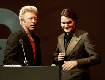 MUNICH, GERMANY - NOVEMBER 03:  Tennis players Boris Becker and Roger Federer stand on stage at the 'GQ Men Of The Year' award on November 3, 2005 in Munich, Germany. The fashion magazine GQ honors people from sport, business and entertainment with this a