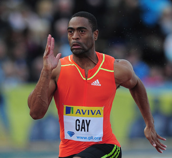 LONDON, ENGLAND - JULY 13:  Tyson Gay of USA wins the 100m Final during day one of the Aviva London Grand Prix  at Crystal Palace on July 13, 2012 in London, England.  (Photo by Jamie McDonald/Getty Images)