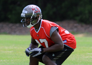 TAMPA, FL -  MAY 4: Cornerback Keith Tandy #37 of the Tampa Bay Buccaneers runs during a pass drill during a rookie practice at the Buccaneers practice facility May 4, 2012 in Tampa, Florida. (Photo by Al Messerschmidt/Getty Images)