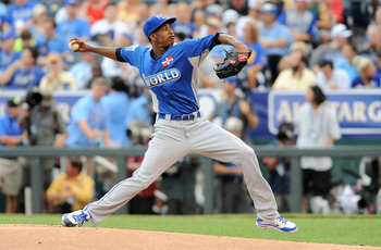 July 8, 2012; Kansas City, MO, USA; World pitcher Yordano Ventura throws a pitch during the first inning of the 2012 All Star Futures Game at Kauffman Stadium.  Mandatory Credit: Denny Medley-US PRESSWIRE