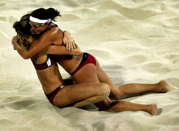 Kerri and Misty celebrate gold in Athens at the 2004 Olympics