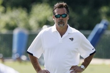 Rams head coach Jeff Fisher during a St. Louis Rams organized team activity (OTA) on May 16, 2012, at Rams Park in Earth City, Mo. Photo by Chris Lee