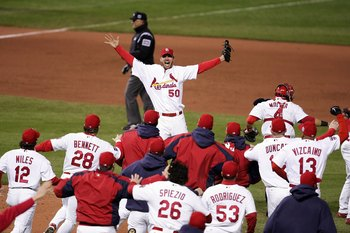 Adam Wainwright celebrates the final out of the 2006 World Series