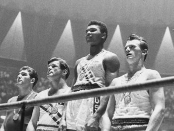 Cassius Clay at the '60 Olympics in Rome (Image courtesy of americanheritage1.com).