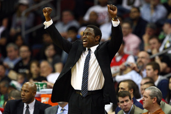 NEWARK, NJ - APRIL 14:  Avery Johnson of the New Jersey Nets reacts as he coaches against the Boston Celtics at Prudential Center on April 14, 2012 in Newark, New Jersey. NOTE TO USER: User expressly acknowledges and agrees that, by downloading and or usi