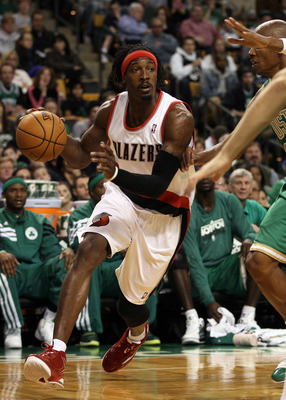 BOSTON, MA - MARCH 09: Gerald Wallace #3 of the Portland Trail Blazers heads to the net in the second half against the Boston Celtics on March 9, 2012 at TD Garden in Boston, Massachusetts. The Boston Celtics defeated the Portland Trail Blazers 104-86. NO