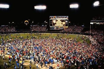 Fans pile on the County Stadium field after Game 5 of the '82 ALCS.
