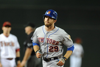 PHOENIX, AZ - JULY 27: Ike Davis #29 of the New York Mets rounds the bases after hitting a home run against the Arizona Diamondbacks at Chase Field on July 27, 2012 in Phoenix, Arizona. (Photo by Norm Hall/Getty Images)