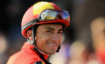 Rafael Bejarano picks up the mount on Brujo de Olleros.