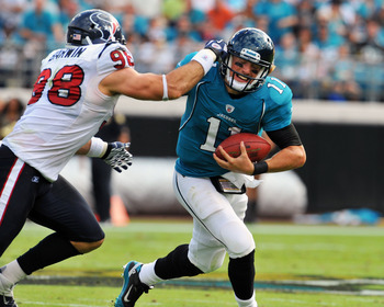 Jaguars quarterback Blaine Gabbert suffered through a rough rookie season in 2011
