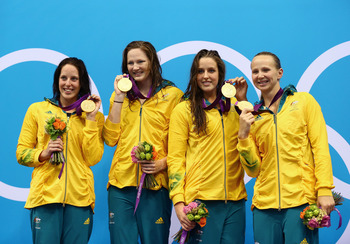 Australia's 4x100 relay team set a new Olympic record.