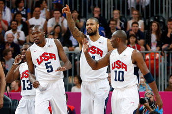 From left to right: Chris Paul (13), Kevin Durant (5), Tyson Chandler and Kobe Bryant (10)