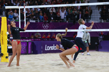 Misty May-Treanor (left) with teammate Kerri Walsh (right)