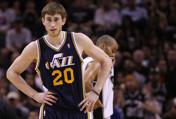 SAN ANTONIO, TX - APRIL 29:  Gordon Hayward #20 of the Utah Jazz in Game One of the Western Conference Quarterfinals in the 2012 NBA Playoffs at AT&T Center on April 29, 2012 in San Antonio, Texas.  NOTE TO USER: User expressly acknowledges and agrees tha